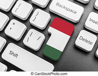 Enter key button with Flag of Hungary.