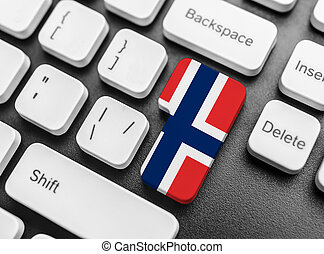 Enter key button with Flag of Norway.