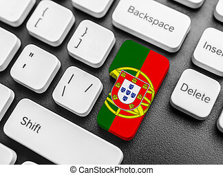 Enter key button with Flag of Portugal.