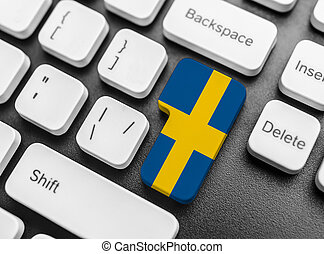 Enter key button with Flag of Sweden.