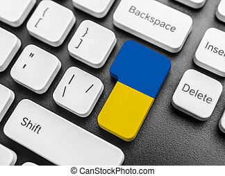 Enter key button with Flag of Ukraine.
