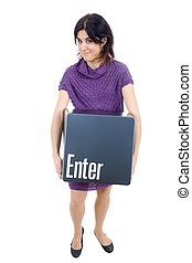 enter key - young beautiful woman with the enter key
