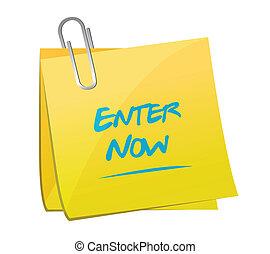 enter now memo message illustration design