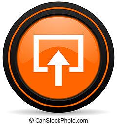 enter orange glossy web icon on white background