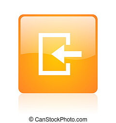 enter orange square glossy web icon