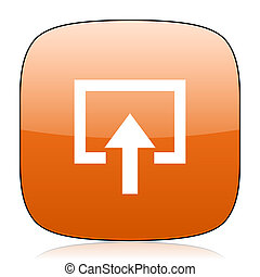 enter orange square web design glossy icon