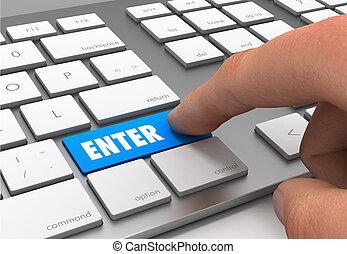 enter push button concept 3d illustration