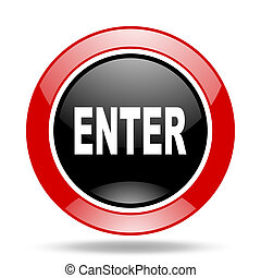 enter red and black web glossy round icon