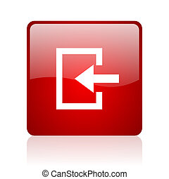 enter red square glossy web icon on white background