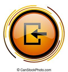 enter round design orange glossy web icon