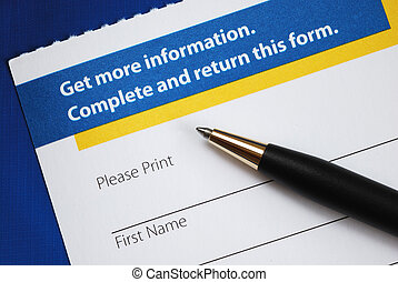 Enter the form to request more information isolated on blue