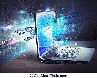 Enter the virtual world - Through screen to enter the...