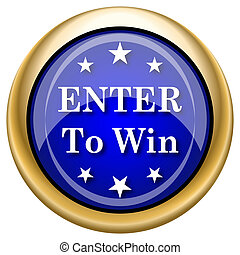 Enter to win icon - Blue shiny glossy icon on white...