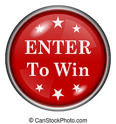 Enter to win icon - Red shiny glossy icon on white...