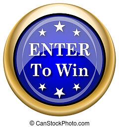 Enter to win icon - Blue shiny glossy icon on white...