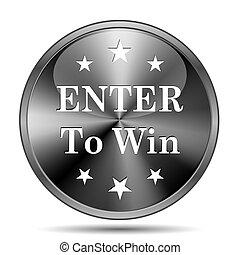 Enter to win icon - Glossy shiny glass icon on white...