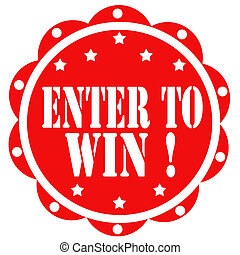 Enter To Win!-label - Red label with text Enter To Win, ...