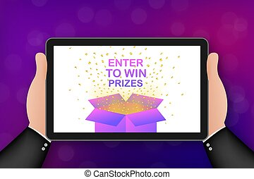 Enter to Win Prizes. Open Red Gift Box and Confetti. Vector stock Illustration.