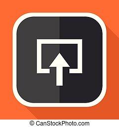 Enter vector icon. Flat design square internet gray button on orange background.