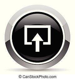 Enter vector steel icon. Chrome border round web button....