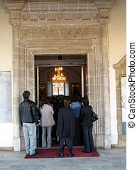 entering church - People entering church