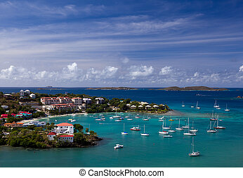 Sailing into Cruz Bay on the island of St John in the US Virgin Islands