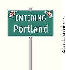 Entering Portland road sign