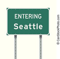 Entering Seattle road sign