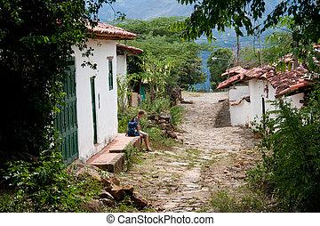 Entering the colonial village of Guane, Santander, Colombia