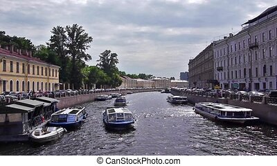 Enterntainment boat on Fontanka river, St. Petersburg, Russia