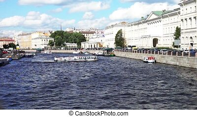 Enterntainment Boat on Moyka River, St. Petersburg, Russia