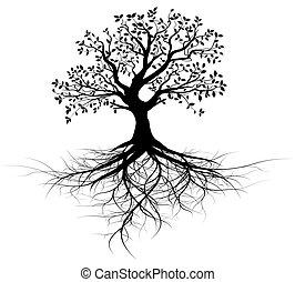 entero, vector, negro, árbol, con, raíces
