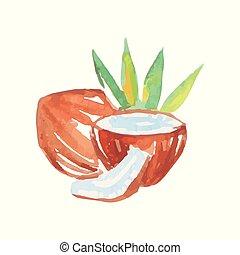 entero, y, roto, cocos, mitades, con, leche, y, verde, palma, árboles., colorido, acuarela, painting., tropical, fruit., natural, producto, design., mano, dibujado, vector, ilustración