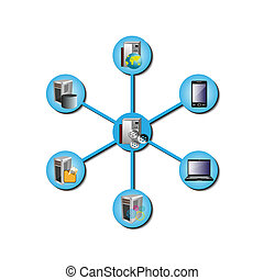 Vector illustration of how a middle ware distributed technology integrates various legacy and enterprise applications in different network topology like hub and spoke in integration space