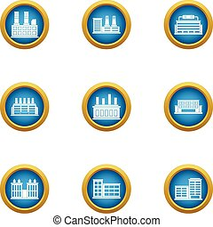 Enterprise icons set, flat style - Enterprise icons set....
