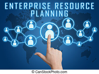 Enterprise Resource Planning concept with hand pressing ...