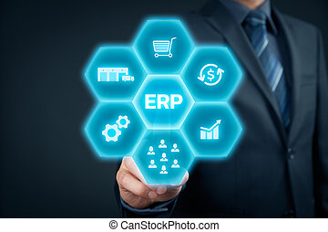 Enterprise resource planning ERP concept. Businessman click on ERP business management software button for collect, store, manage and interpret business data like customers, HR, production, logistics, financials and marketing.