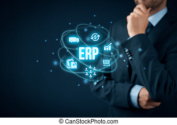 Enterprise resource planning ERP concept. Businessman think...