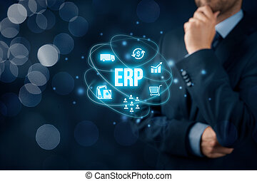 Enterprise resource planning ERP concept. Businessman think about ERP business management software for collect, store, manage and interpret business data about customers, HR, production, logistics, financials and marketing.