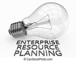 Enterprise Resource Planning - lightbulb on white background with text under it. 3d render illustration.