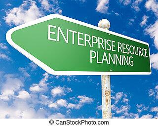 Enterprise Resource Planning - street sign illustration in...