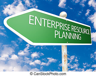 Enterprise Resource Planning - street sign illustration in...