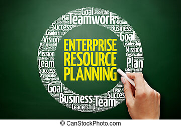 Enterprise Resource Planning word cloud collage, business...