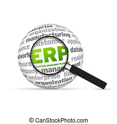Enterprise Resource Planning Word Sphere with magnifying glass on white background.