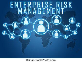 Enterprise Risk Management concept on blue background with...