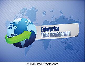 enterprise risk management globe sign illustration design...