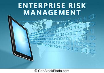 Enterprise Risk Management illustration with tablet computer...