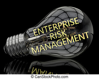 Enterprise Risk Management - lightbulb on black background...