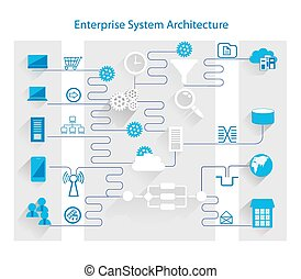 Enterprise System Architecture - Vector illustration of...