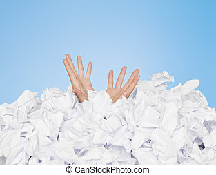 enterrado, humano, papeles